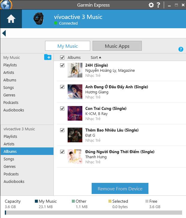 Các bài hát đã được chuyển qua thiết bị Garmin