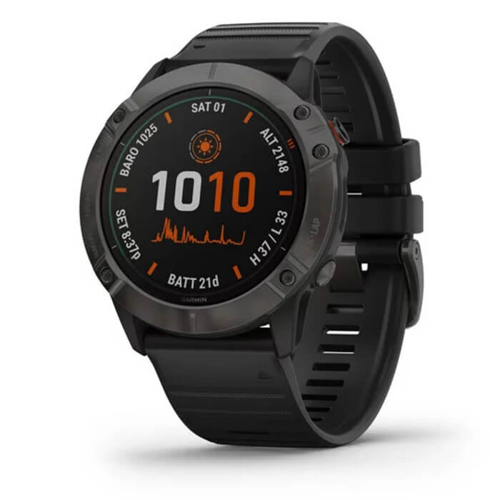 Garmin Fenix 6X - Titanium Carbon Gray DLC with Black Band, Pro Solar