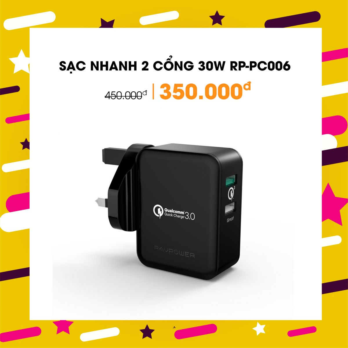 Sạc RAVPower 2 cổng 30W, Quick Charge 3.0 (RP-PC006)