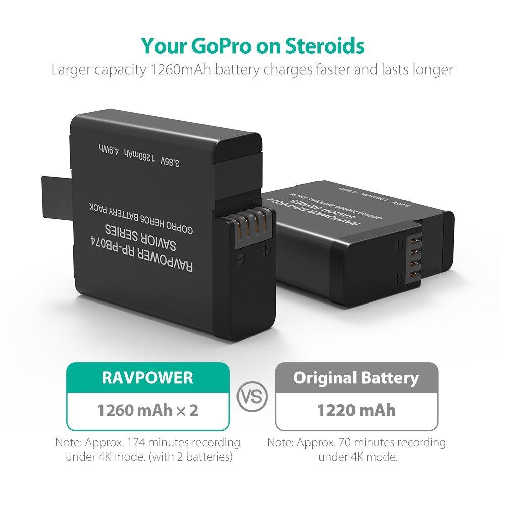 Bộ 2 pin tương thích 100% với Gopro Hero 5,6