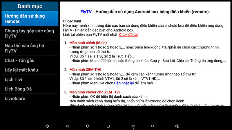flytv android tv box ung dung xem truyen hinh tivi online mien phi flytvbox - huong dan su dung remote