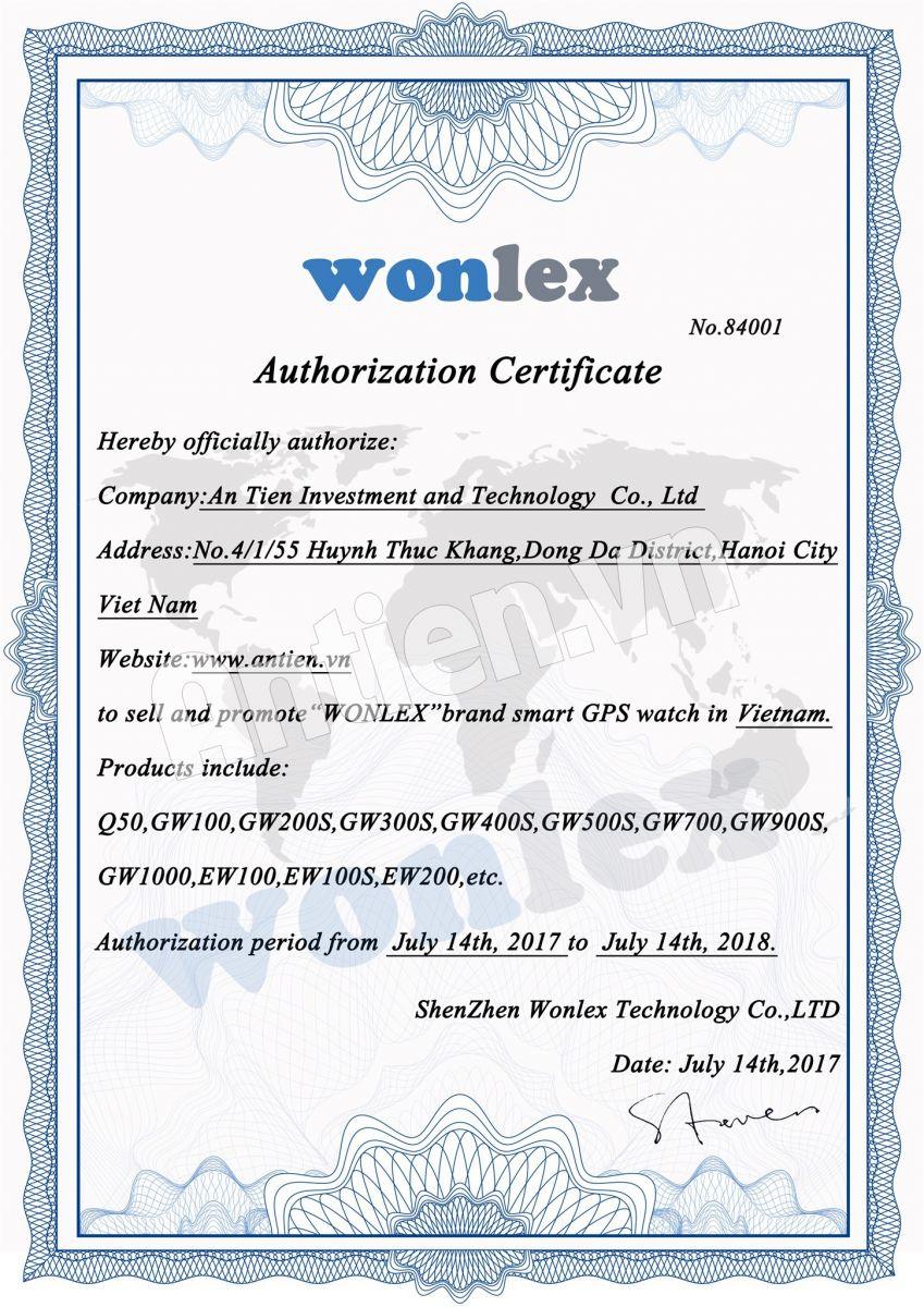 Chứng nhận Antien.vn là đơn vị ủy quyền chính thức của Wonlex tại Việt Nam