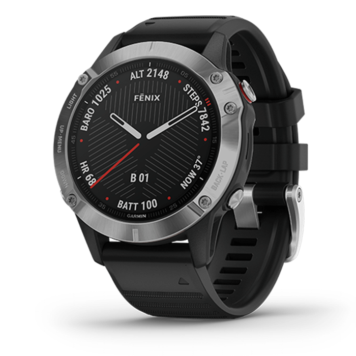 Garmin Fenix 6 - Silver with Black Band, Non -Sapphire, Music, Topo Map