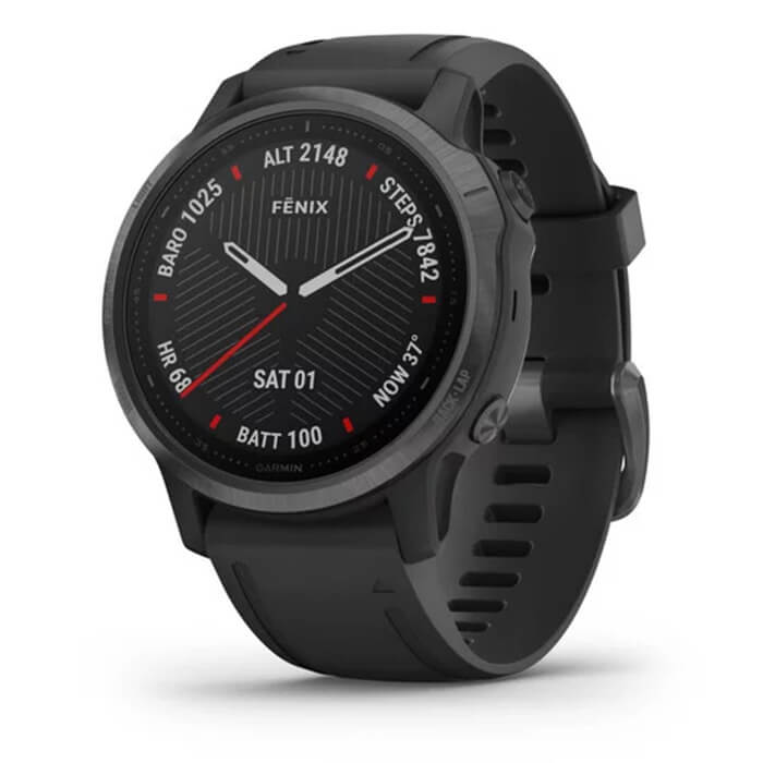 Garmin Fenix 6S - Sapphire, 42mm, Carbon Gray DLC with Black Band